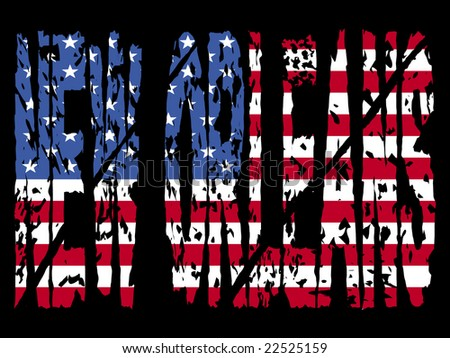 grunge New Orleans text with American flag illustration - stock vector