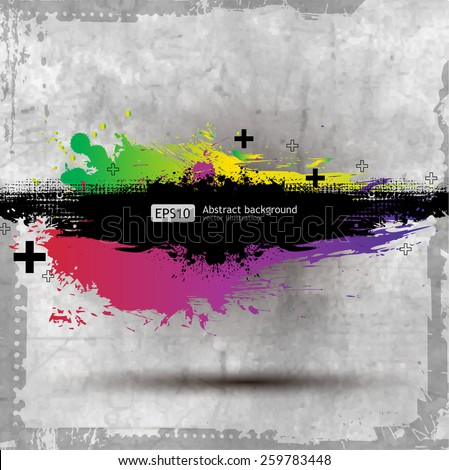 Grunge Old Paper background with a colorful rainbow ink splat effect - stock vector