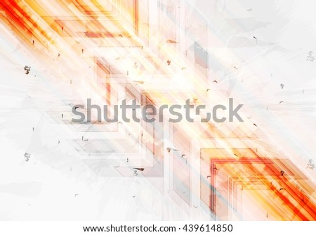Grunge orange tech background with arrows. Vector grunge style illustration, web layout brochure technology template design - stock vector