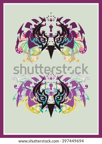 Grunge owl eyes. Tribal old owl eyes splashes with colorful floral elements. Two options  - stock vector