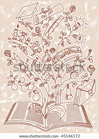 Grunge page with magik book - stock vector