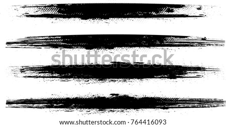 Grunge Paint stripe . Vector brush Stroke . Distressed banner . Black isolated paintbrush collection . Modern Textured shape . Dry border in Black . bulge line