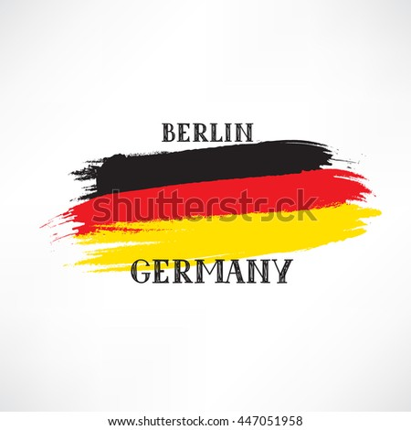 Grunge painted German Flag Sketch with hand drawn lettering. Travel Germany sign isolated on white vector illustration - stock vector