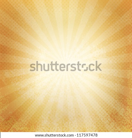 Grunge paper background. Retro burst - stock vector