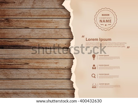 Grunge paper on wooden wall, Vector illustration design ( Image trace of wooden background ) - stock vector