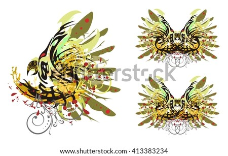 Grunge parrot and butterfly. Psychedelic colors parrot splashes  and butterfly wings with blood drops. Three options - stock vector