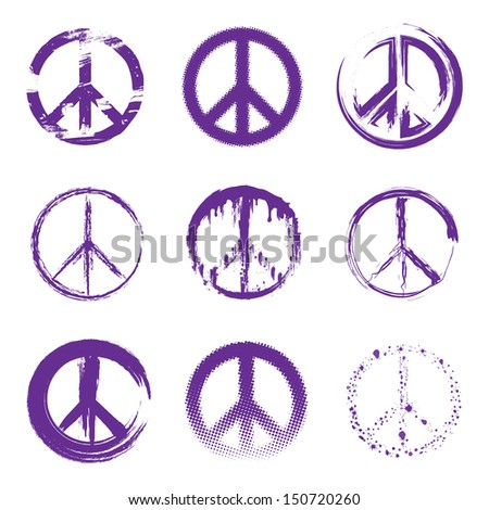 Grunge Peace Signs - stock vector