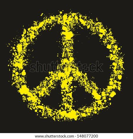 Grunge peace symbol - pacific, vector illustration - stock vector