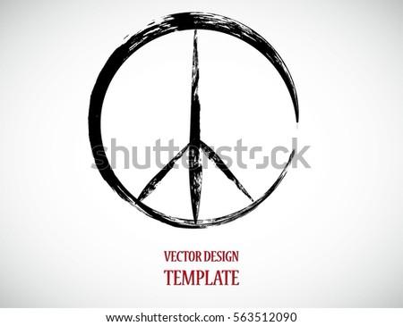 Grunge Peace Symbol Vector Brush Stroke Stock Vector 563512090 ...