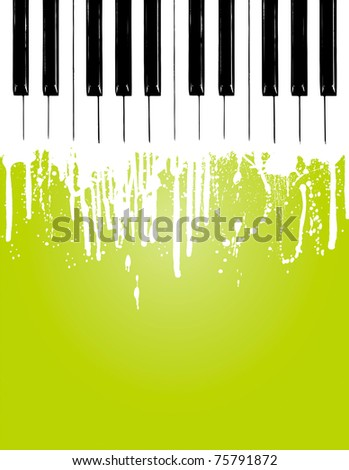 Grunge piano flowing... with copy space - stock vector
