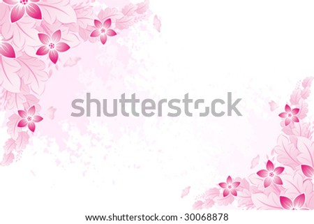 Grunge Pink spring background flowers with butterfly