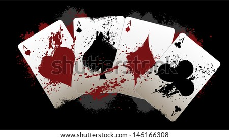 Grunge Poker Aces - stock vector