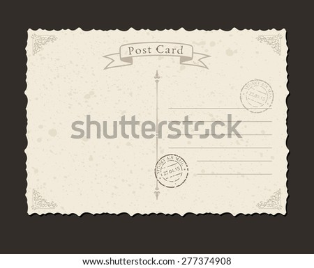Grunge postcard and postage stamp. Design envelopes and letter - stock vector