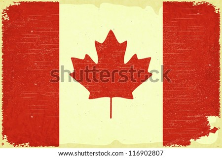 Grunge poster - Canadian flag in Retro style - Vector illustration