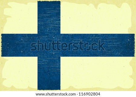Grunge poster - Finnish flag in Retro style - Vector illustration - stock vector