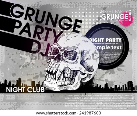 grunge print for background parrty with skull. Grunge banner with an inky dribble strip with copy space. Abstract background for party - stock vector