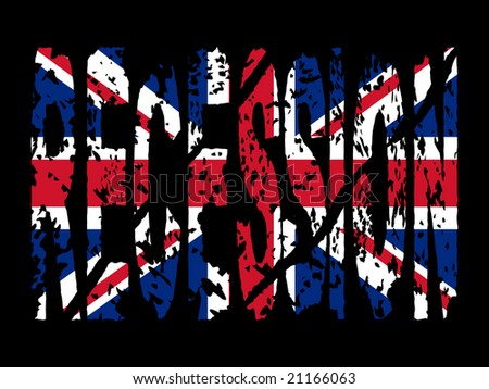 grunge Recession text with British flag illustration - stock vector