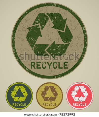 grunge recycle label - stock vector