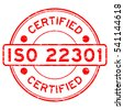 Grunge red ISO 22301 certified round rubber stamp