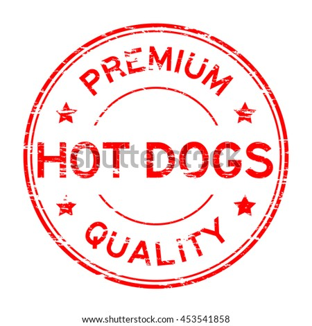 Grunge red premium quality hot dogs rubber stamp - stock vector