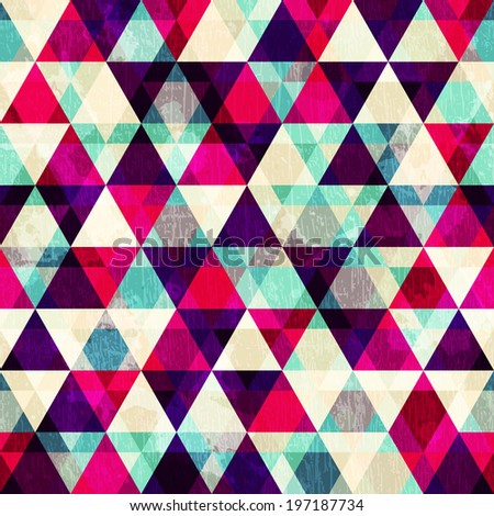 grunge red triangle seamless pattern - stock vector
