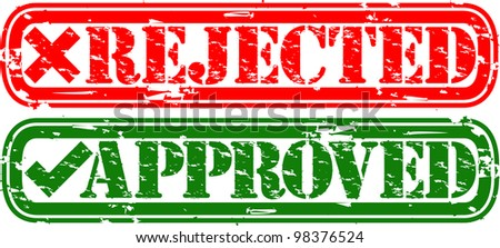 Grunge rejected and approved rubber stamp, vector illustration - stock vector