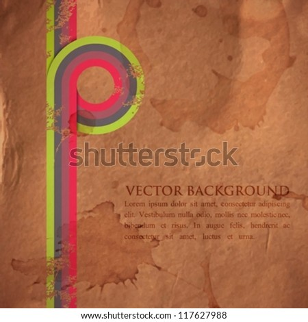 grunge retro background with colorful ribbons - stock vector