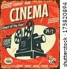Grunge retro cinema poster. Vector illustration.  - stock photo