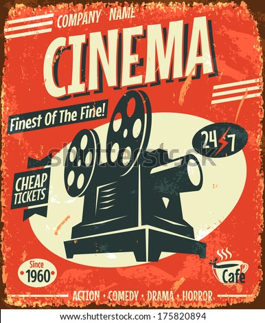 Grunge retro cinema poster. Vector illustration.  - stock vector