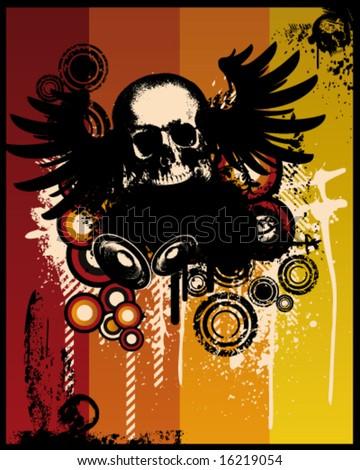 Grunge Retro Skull Vector Illustration - stock vector
