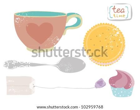 Grunge retro tea set - stock vector