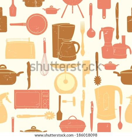 Grunge Retro vector illustration seamless pattern of kitchen tools for cooking - stock vector