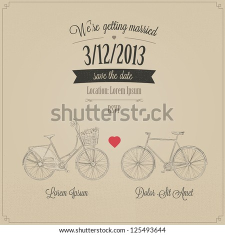 Grunge retro wedding invitation with tandem vintage bicycles - stock vector
