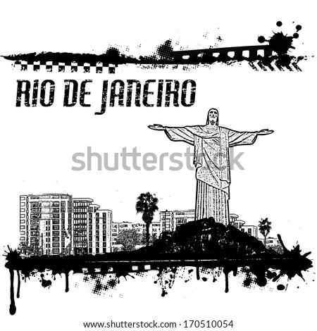 Grunge Rio de Janeiro cityscape background on white, vector illustration - stock vector
