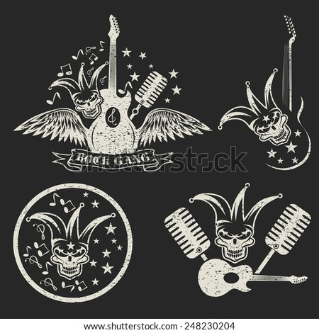 grunge rock gang set with jester skull,wings and guitar - stock vector
