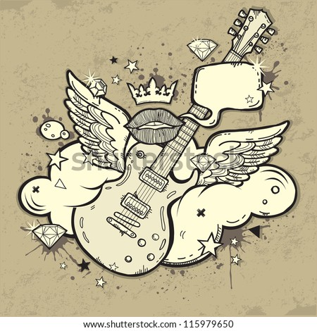 Grunge Rock'n'Roll Guitar with wings on the cloud - stock vector