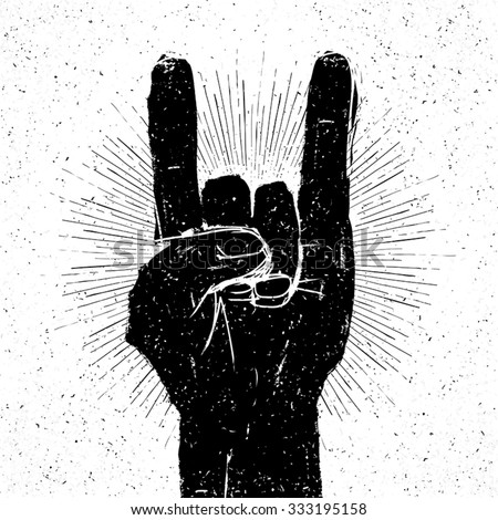 "Grunge ""rock on"" gesture illustration. Template for your slogan, text, etc. - stock vector"