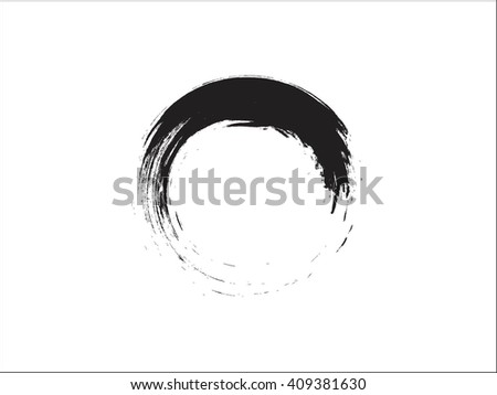 Grunge round shape with brush vector
