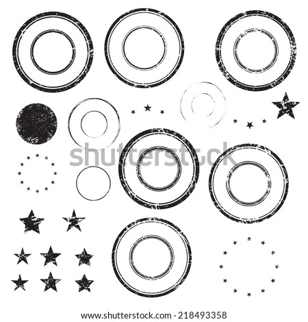 Grunge rubber empty blank postal stamps and stars icons, set, graphic design elements, black isolated on white background, vector illustration. - stock vector