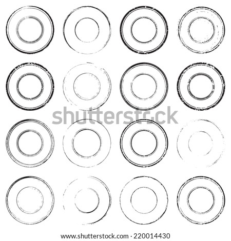 Grunge rubber empty blank postal stamps icons, set, graphic design elements, black isolated on white background, vector illustration. - stock vector