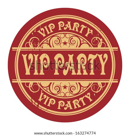 Grunge rubber gold stamp with the words Vip Party written inside the stamp, vector illustration - stock vector