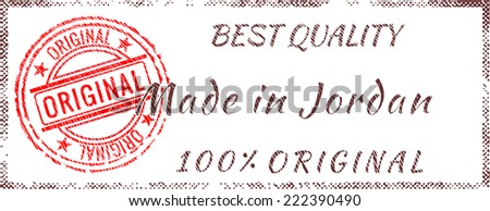Grunge rubber stamp  Made in Jordan - stock vector