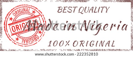 Grunge rubber stamp  Made in Nigeria  - stock vector