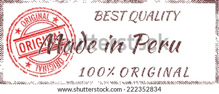 Grunge rubber stamp  Made in Peru - stock vector