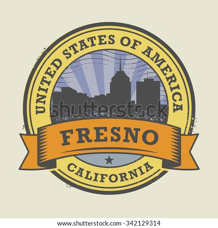 Grunge rubber stamp or label with name of Fresno, California, vector illustration