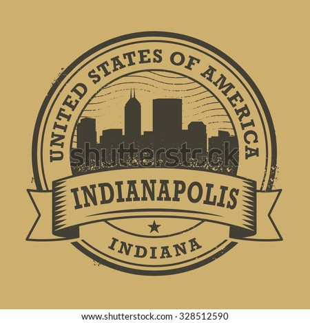 Grunge rubber stamp or label with name of Indianapolis, Indiana, vector illustration - stock vector