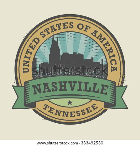 Grunge rubber stamp or label with name of Nashville, Tennessee, vector illustration - stock vector
