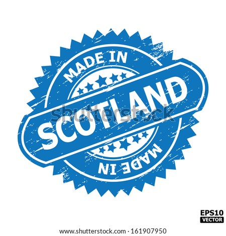"""Grunge rubber stamp or (stickers,tag, icon, sign, symbol, badge, label) with text """" MADE IN SCOTLAND """" present by light blue color for business, office, internet or e-commerce. eps10 vector - stock vector"""