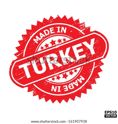 """Grunge rubber stamp or (stickers,tag, icon, sign, symbol, badge, label) with text """" MADE IN TURKEY """" present by light blue color for business, office, internet or e-commerce. eps10 vector - stock vector"""