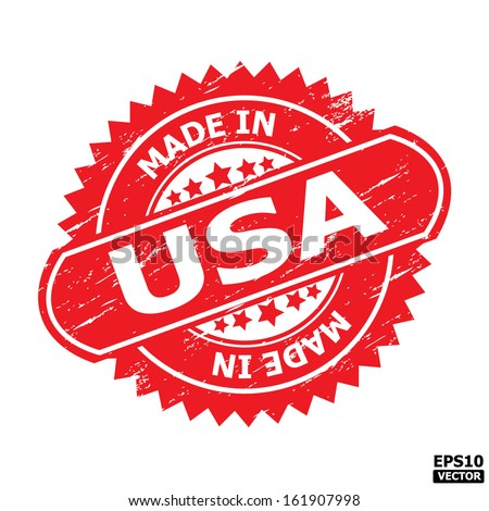 """Grunge rubber stamp or (stickers,tag, icon, sign, symbol, badge, label) with text """" MADE IN USA """" present by light blue color for business, office, internet or e-commerce. eps10 vector - stock vector"""